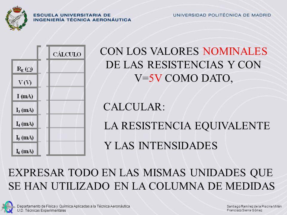 CON LOS VALORES NOMINALES DE LAS RESISTENCIAS Y CON V=5V COMO DATO,
