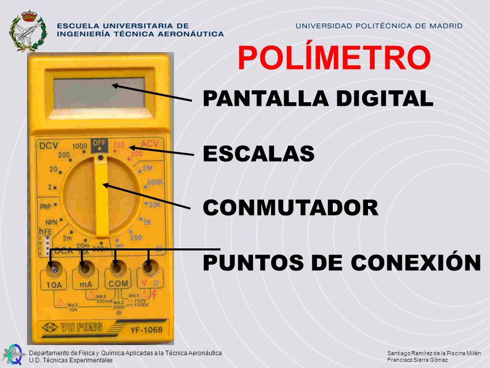 POLÍMETRO PANTALLA DIGITAL ESCALAS CONMUTADOR PUNTOS DE CONEXIÓN