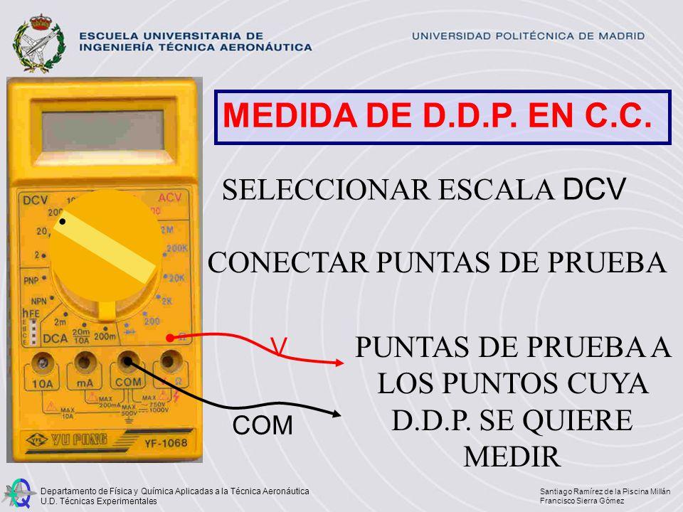 MEDIDA DE D.D.P. EN C.C. SELECCIONAR ESCALA DCV