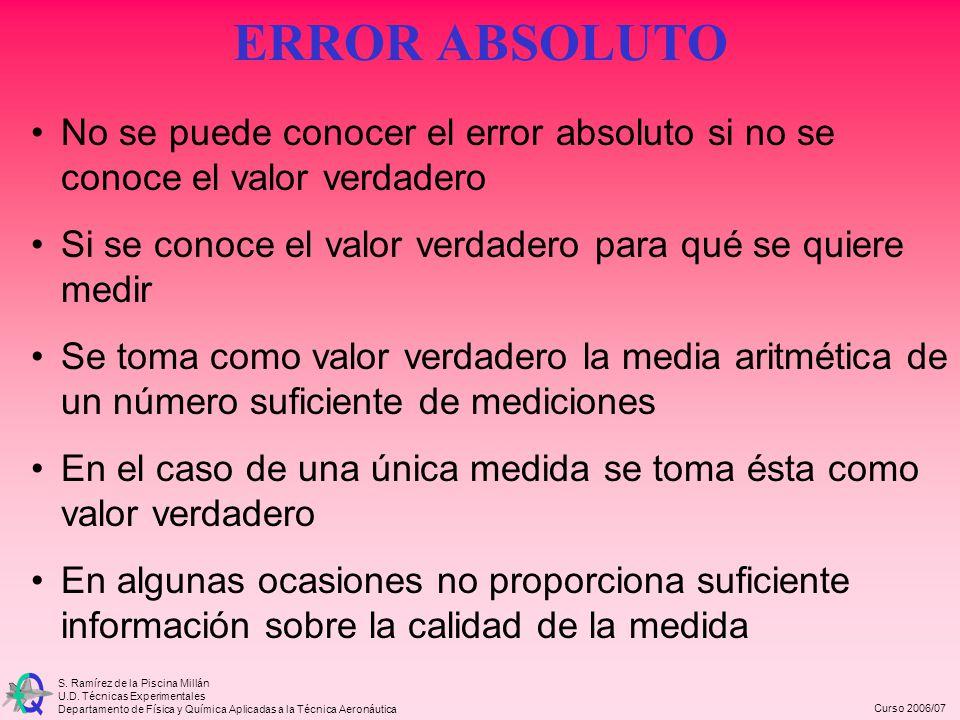 ERROR ABSOLUTO No se puede conocer el error absoluto si no se conoce el valor verdadero. Si se conoce el valor verdadero para qué se quiere medir.