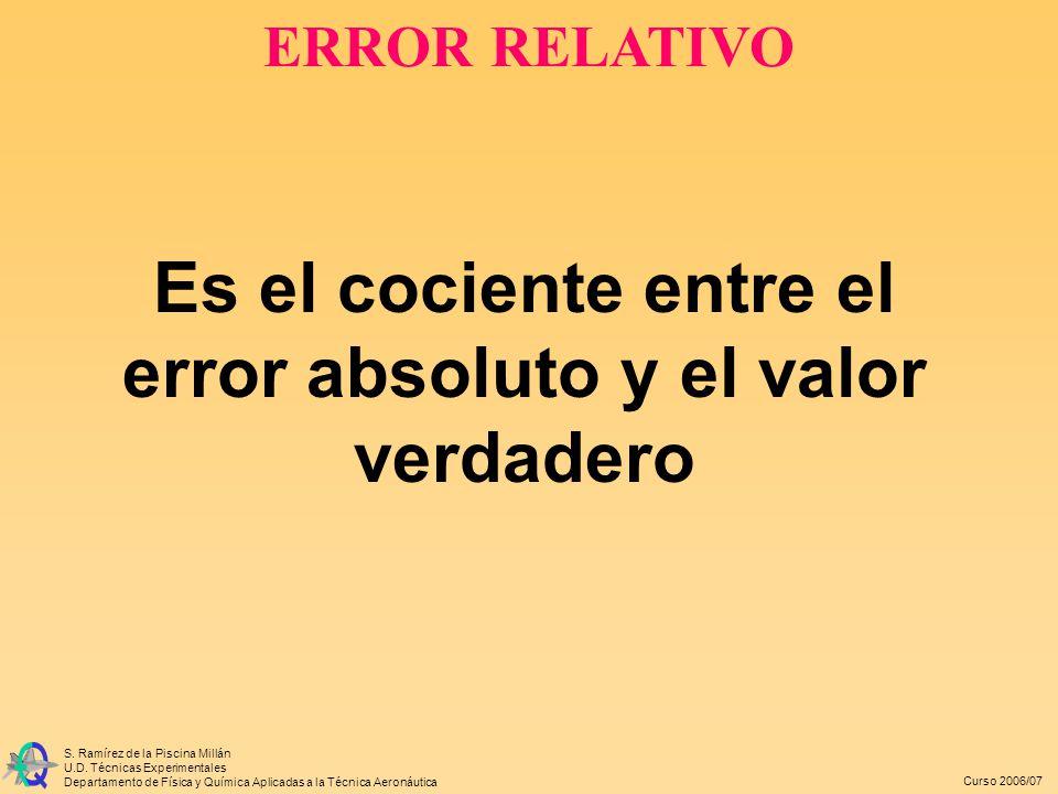 Es el cociente entre el error absoluto y el valor verdadero
