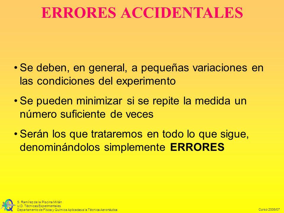 ERRORES ACCIDENTALES Se deben, en general, a pequeñas variaciones en las condiciones del experimento.