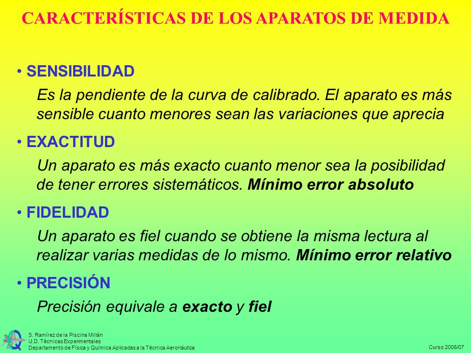 CARACTERÍSTICAS DE LOS APARATOS DE MEDIDA