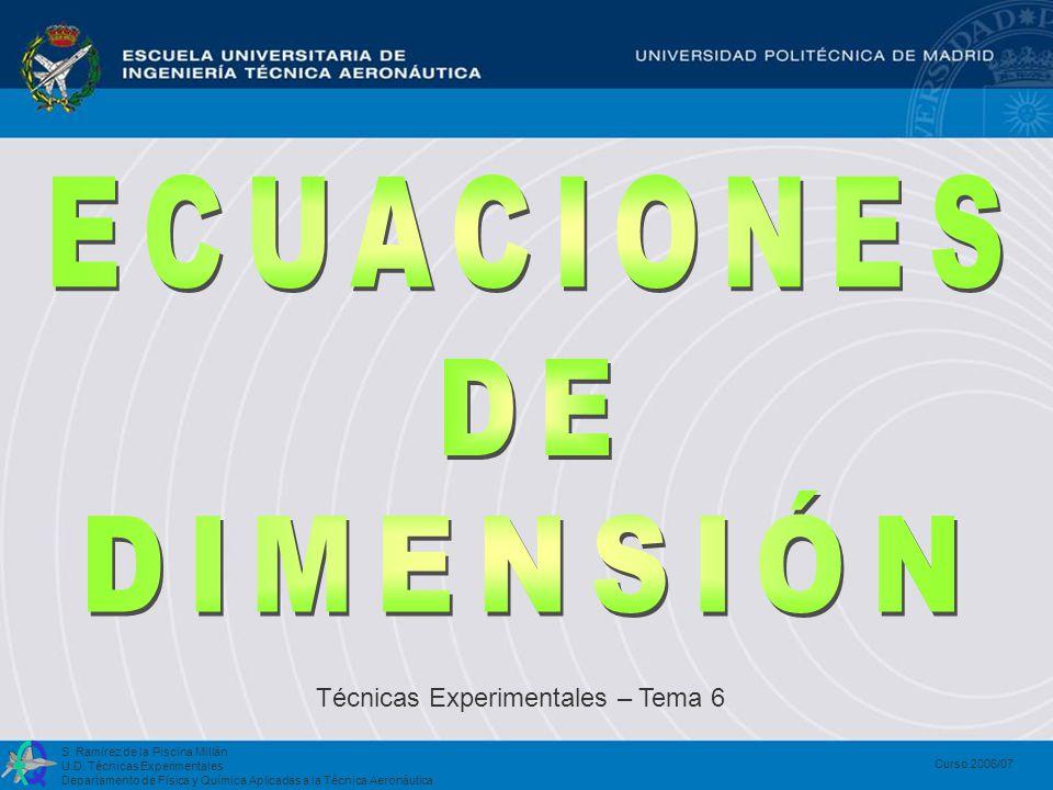 ECUACIONES DE DIMENSIÓN Técnicas Experimentales – Tema 6