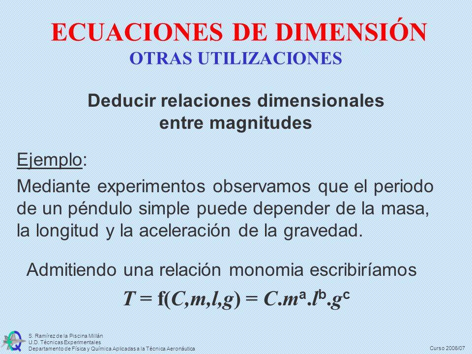 ECUACIONES DE DIMENSIÓN OTRAS UTILIZACIONES