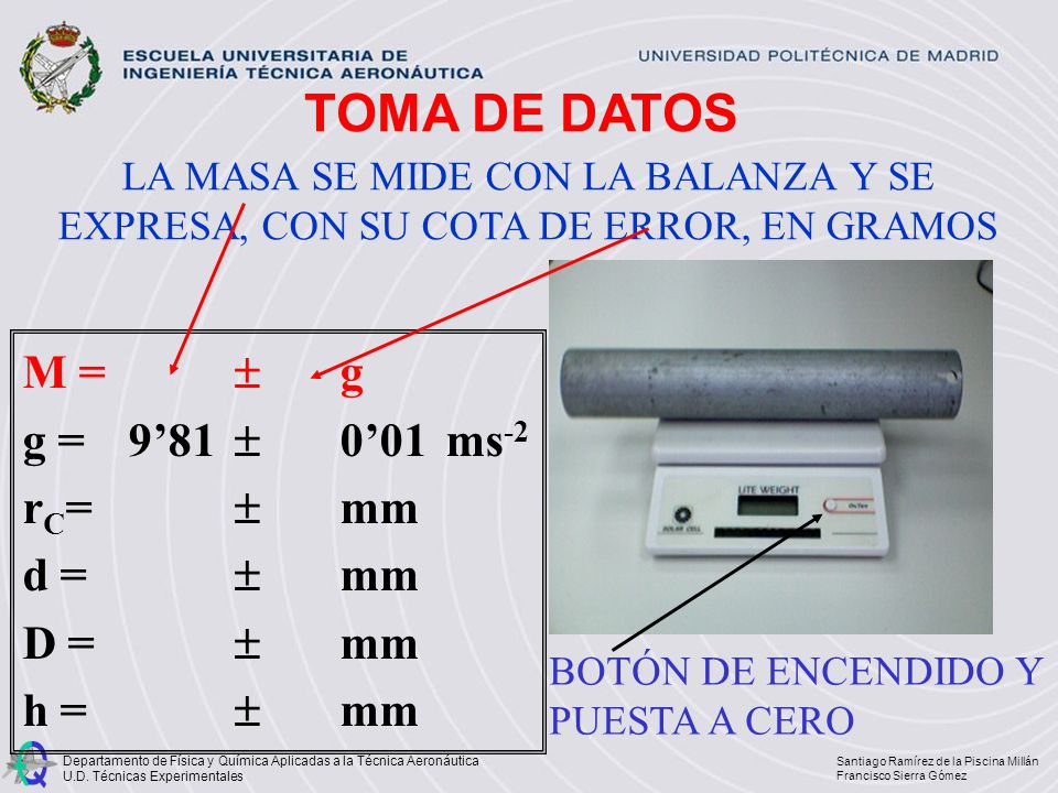 TOMA DE DATOS M =  g g = 9'81  0'01 ms-2 rC=  mm d =  mm D =  mm