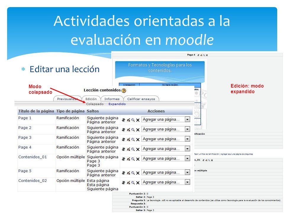Actividades orientadas a la evaluación en moodle