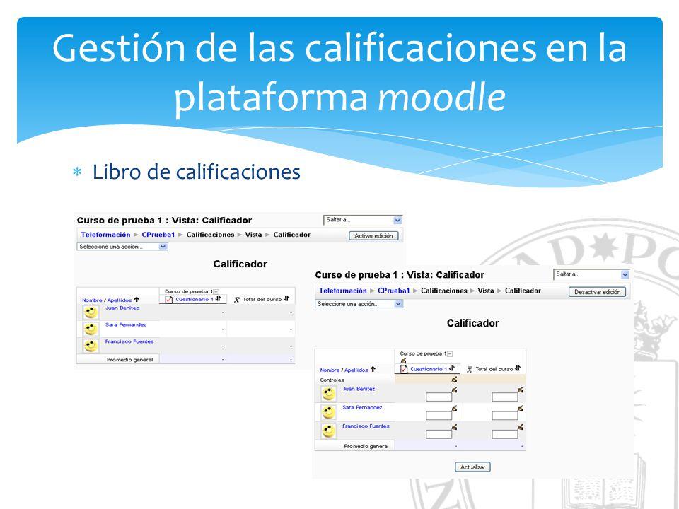Gestión de las calificaciones en la plataforma moodle