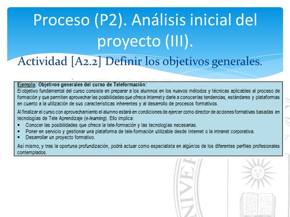 Proceso (P2). Análisis inicial del proyecto (III).