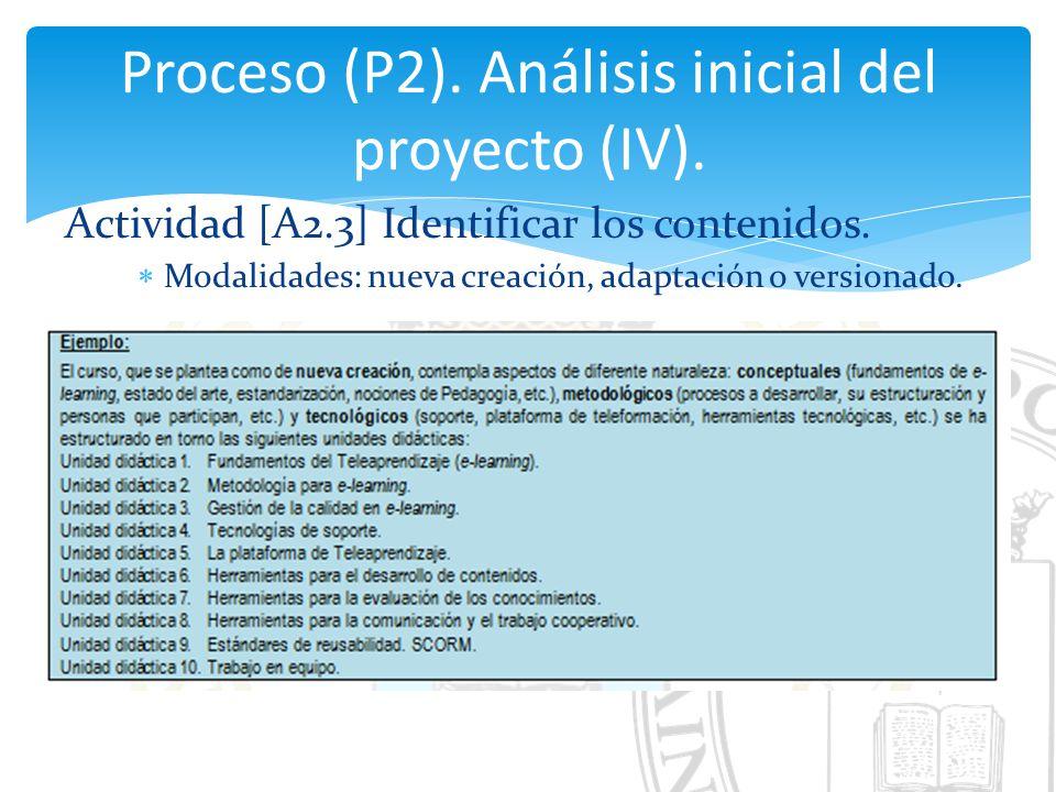 Proceso (P2). Análisis inicial del proyecto (IV).