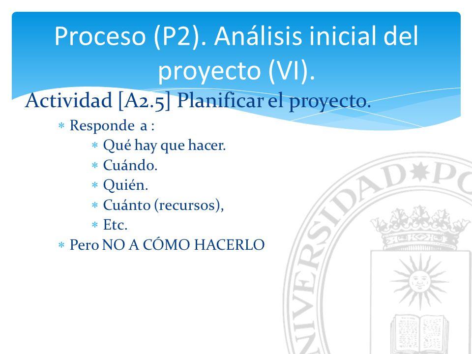 Proceso (P2). Análisis inicial del proyecto (VI).