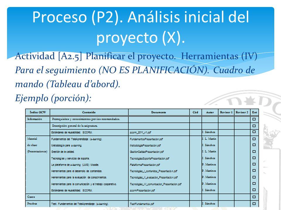 Proceso (P2). Análisis inicial del proyecto (X).