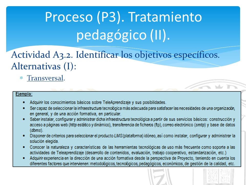 Proceso (P3). Tratamiento pedagógico (II).