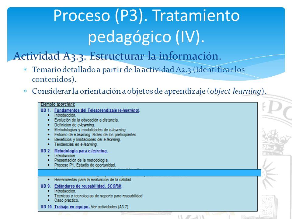 Proceso (P3). Tratamiento pedagógico (IV).
