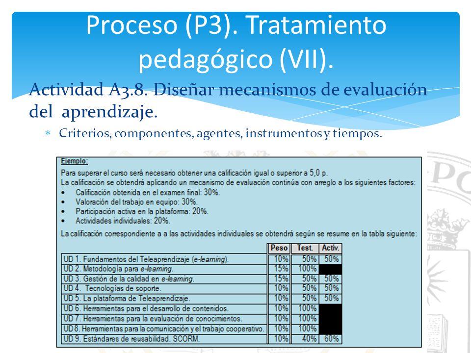 Proceso (P3). Tratamiento pedagógico (VII).