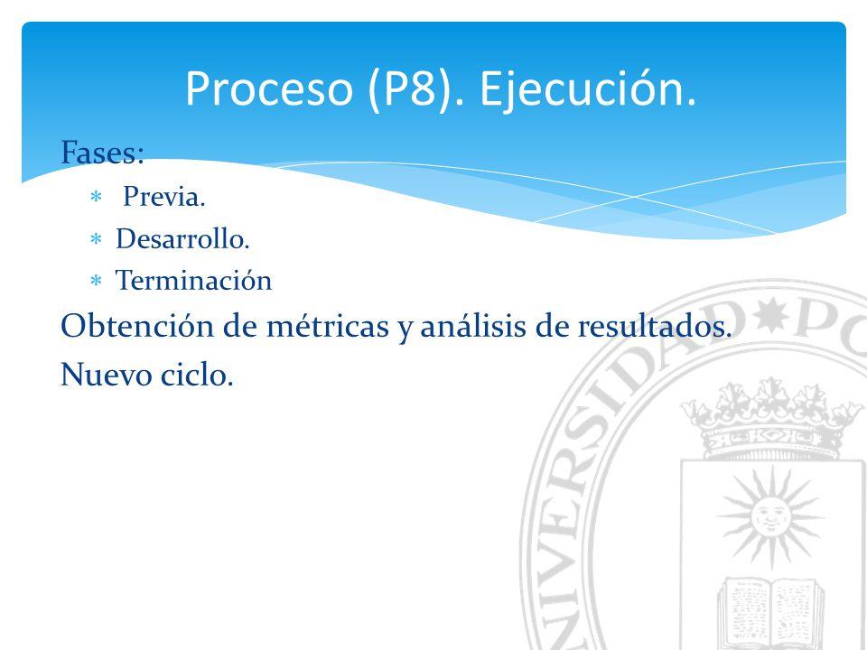 Proceso (P8). Ejecución. Fases: