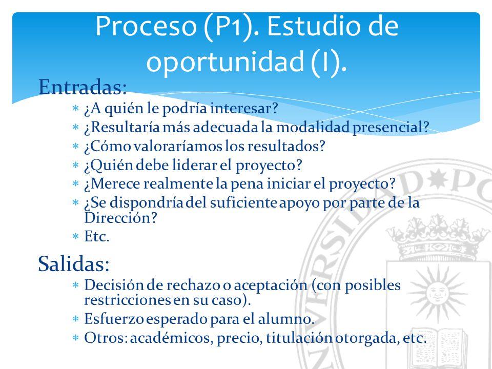 Proceso (P1). Estudio de oportunidad (I).