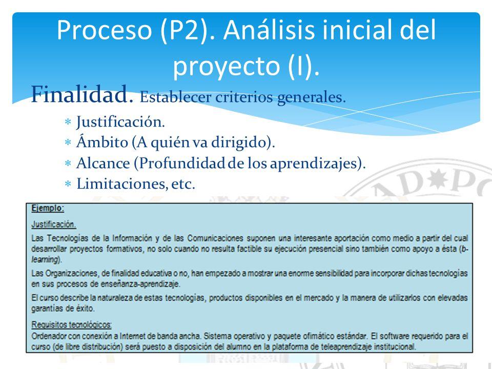 Proceso (P2). Análisis inicial del proyecto (I).