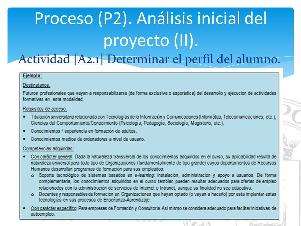 Proceso (P2). Análisis inicial del proyecto (II).
