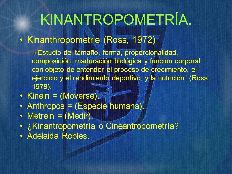 KINANTROPOMETRÍA. Kinanthropometrie (Ross, 1972) Kinein = (Moverse).