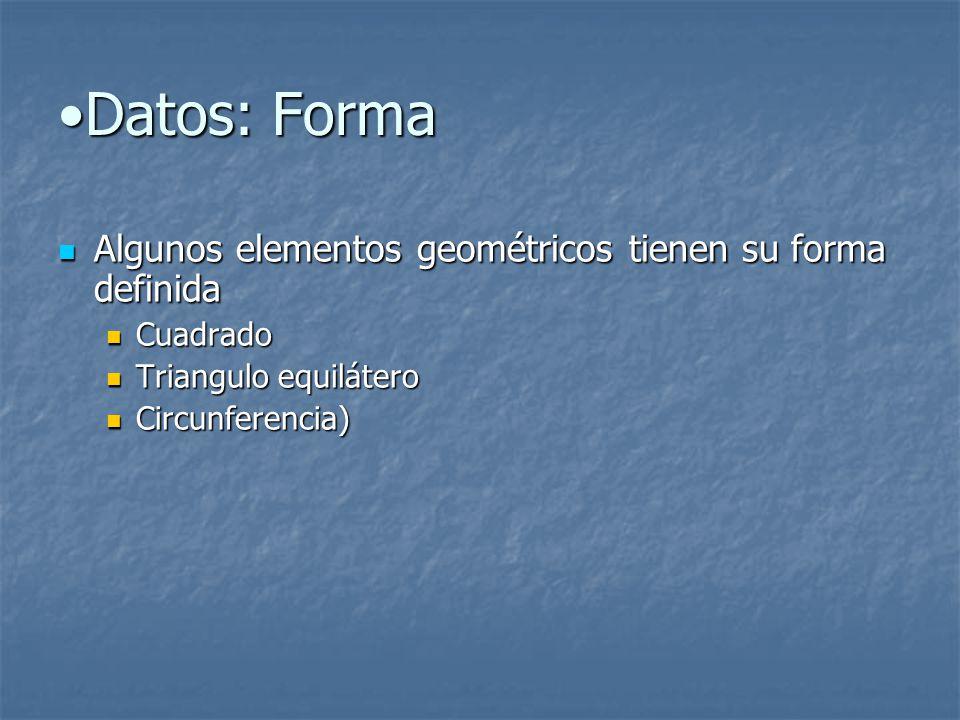 Datos: Forma Algunos elementos geométricos tienen su forma definida
