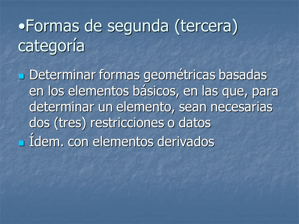 Formas de segunda (tercera) categoría