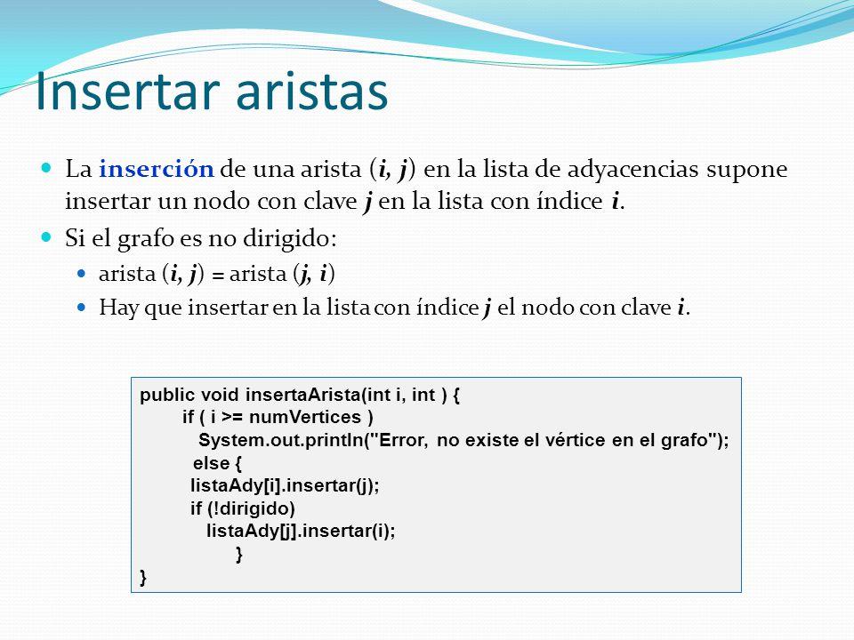 Insertar aristas La inserción de una arista (i, j) en la lista de adyacencias supone insertar un nodo con clave j en la lista con índice i.