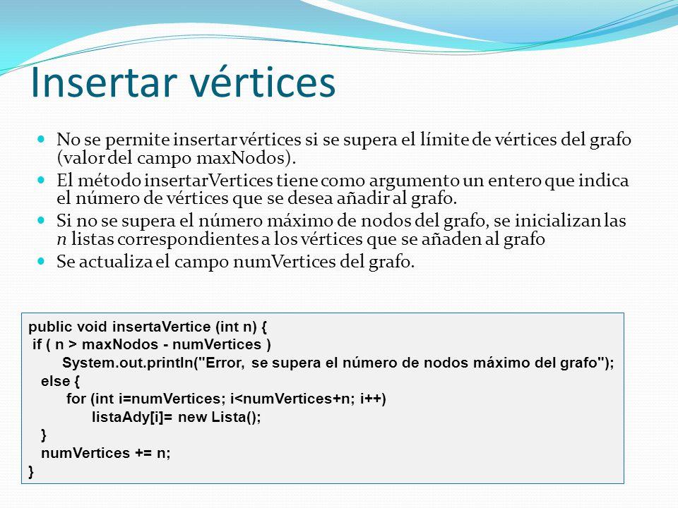 Insertar vértices No se permite insertar vértices si se supera el límite de vértices del grafo (valor del campo maxNodos).