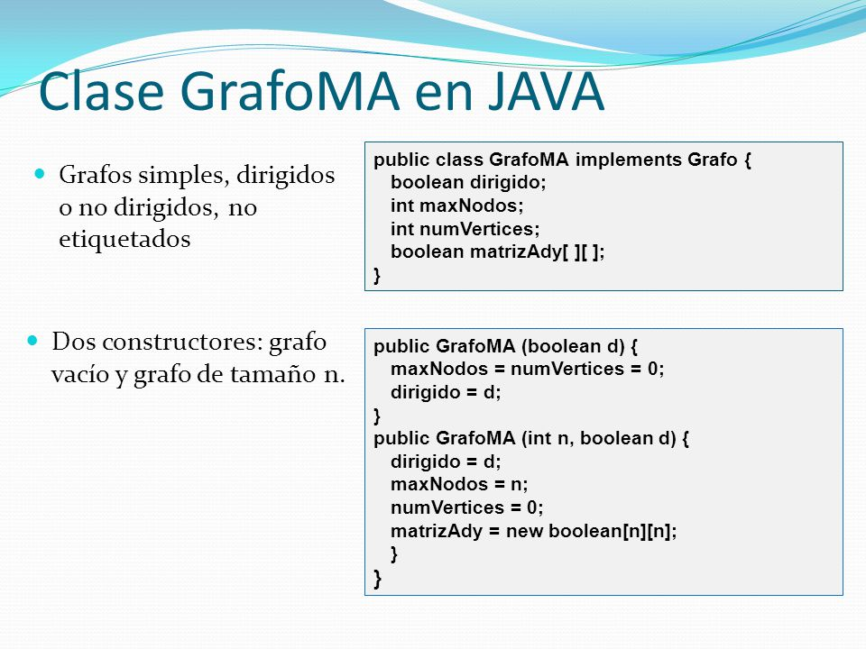 Clase GrafoMA en JAVA public class GrafoMA implements Grafo { boolean dirigido; int maxNodos; int numVertices;