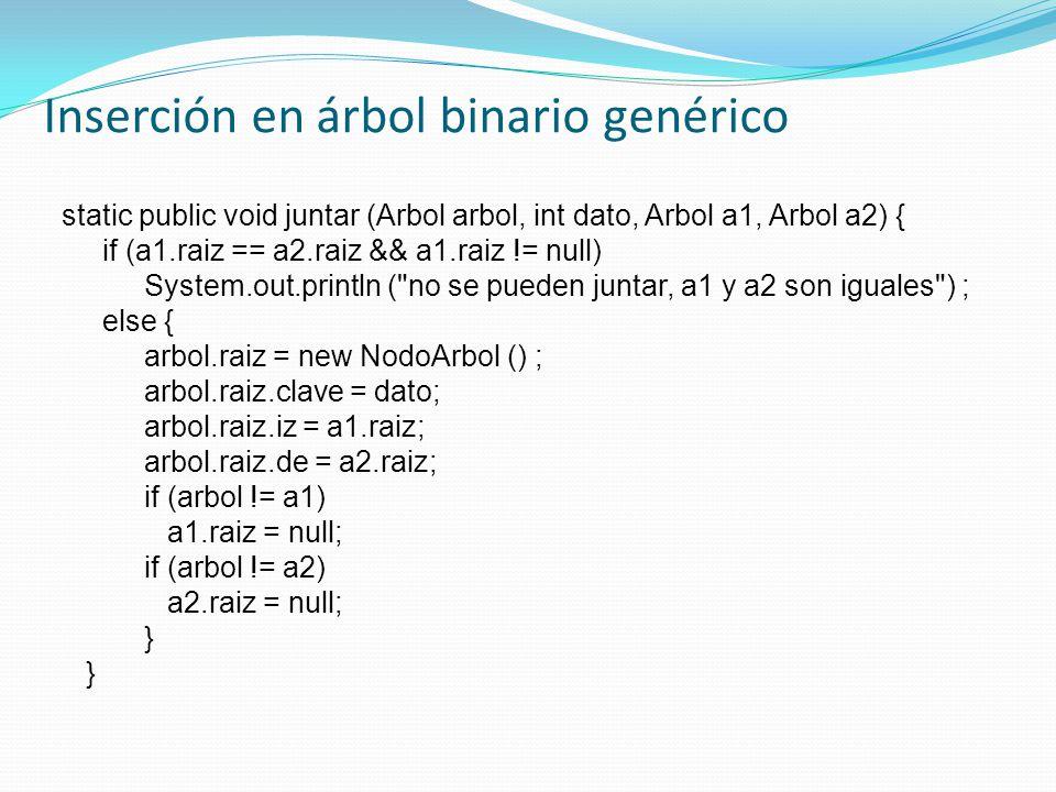 Inserción en árbol binario genérico