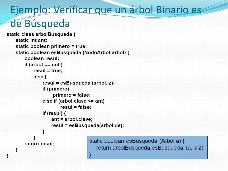 Ejemplo: Verificar que un árbol Binario es de Búsqueda