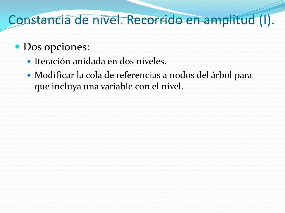 Constancia de nivel. Recorrido en amplitud (I).