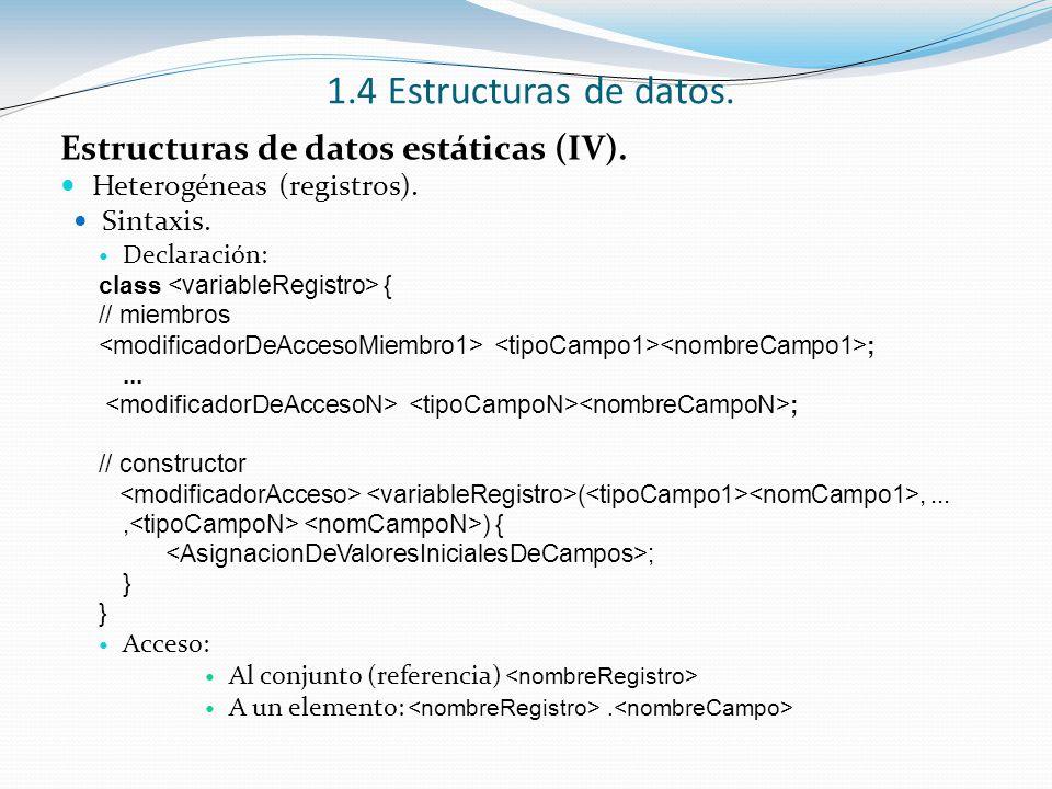 1.4 Estructuras de datos. Estructuras de datos estáticas (IV).