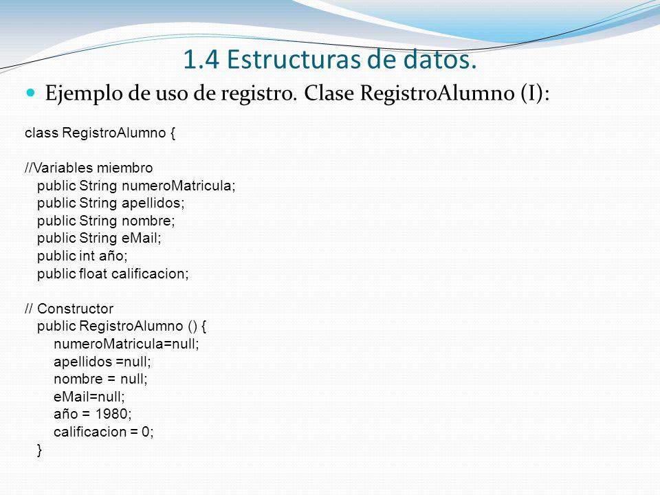 1.4 Estructuras de datos. Ejemplo de uso de registro. Clase RegistroAlumno (I): class RegistroAlumno {