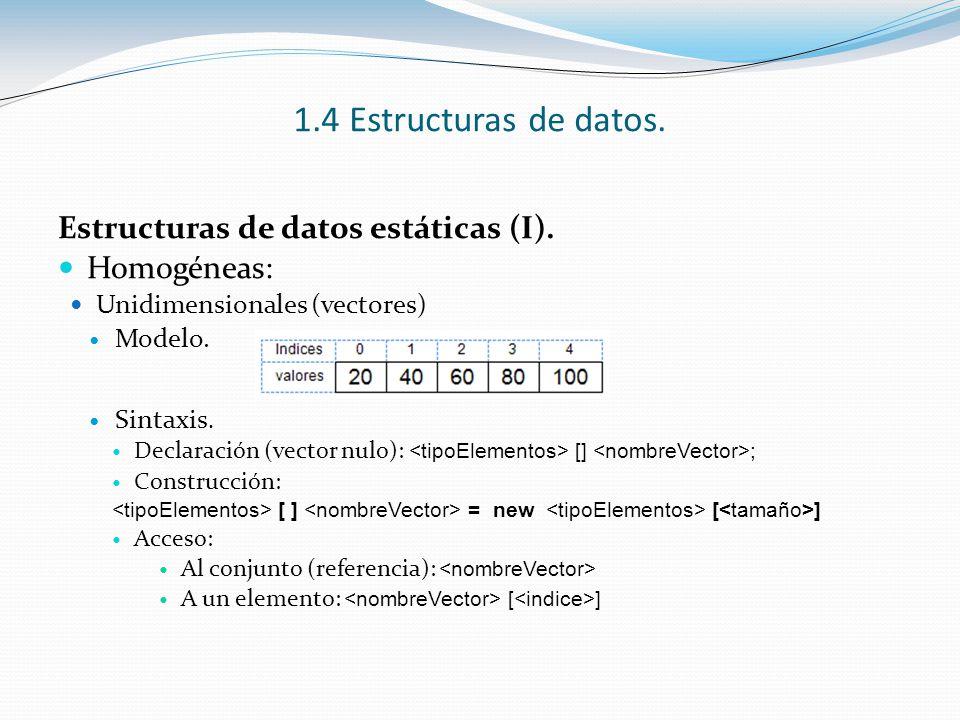 1.4 Estructuras de datos. Estructuras de datos estáticas (I).