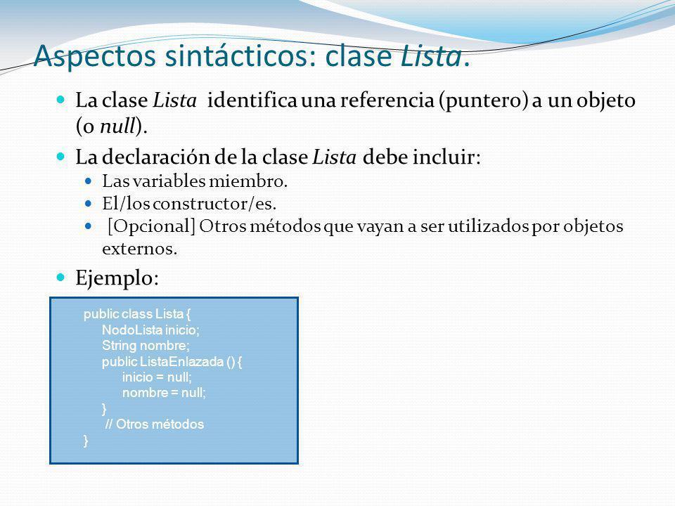 Aspectos sintácticos: clase Lista.