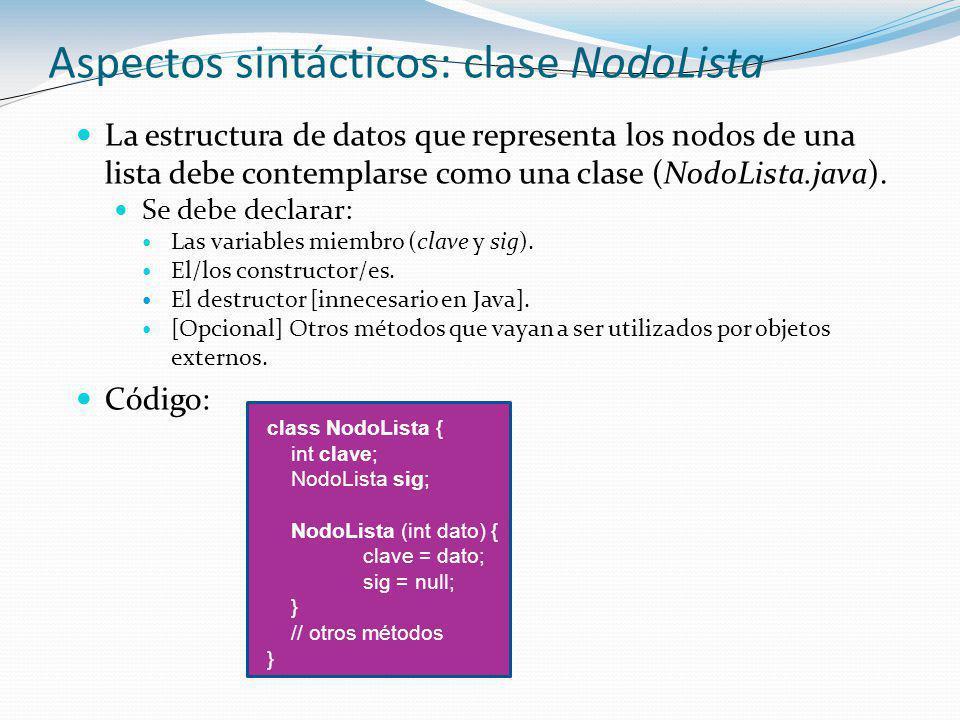 Aspectos sintácticos: clase NodoLista
