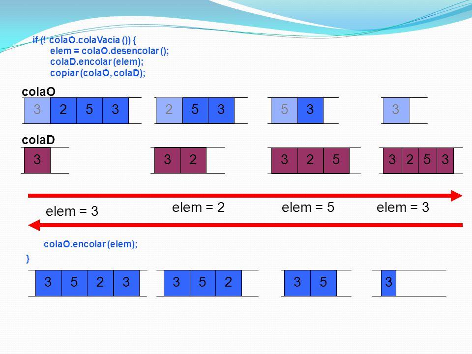 elem = 3 3 2 5 elem = 2 3 2 5 elem = 5 3 5 2 3 3 2 5 3 elem = 3 3 5 2
