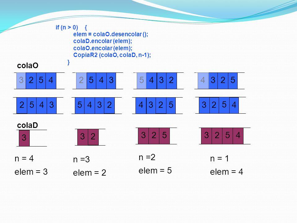 if (n > 0) { elem = colaO.desencolar (); colaD.encolar (elem); colaO.encolar (elem); CopiaR2 (colaO, colaD, n-1);