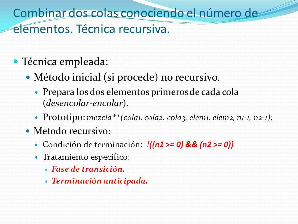 Combinar dos colas conociendo el número de elementos. Técnica recursiva.