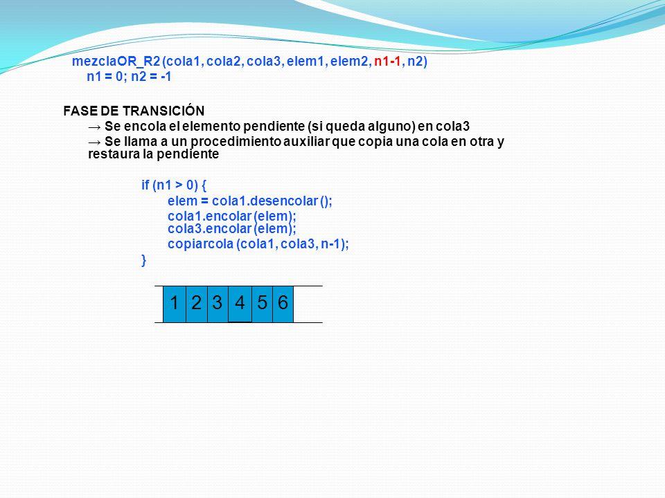 1 2 3 4 5 6 mezclaOR_R2 (cola1, cola2, cola3, elem1, elem2, n1-1, n2)