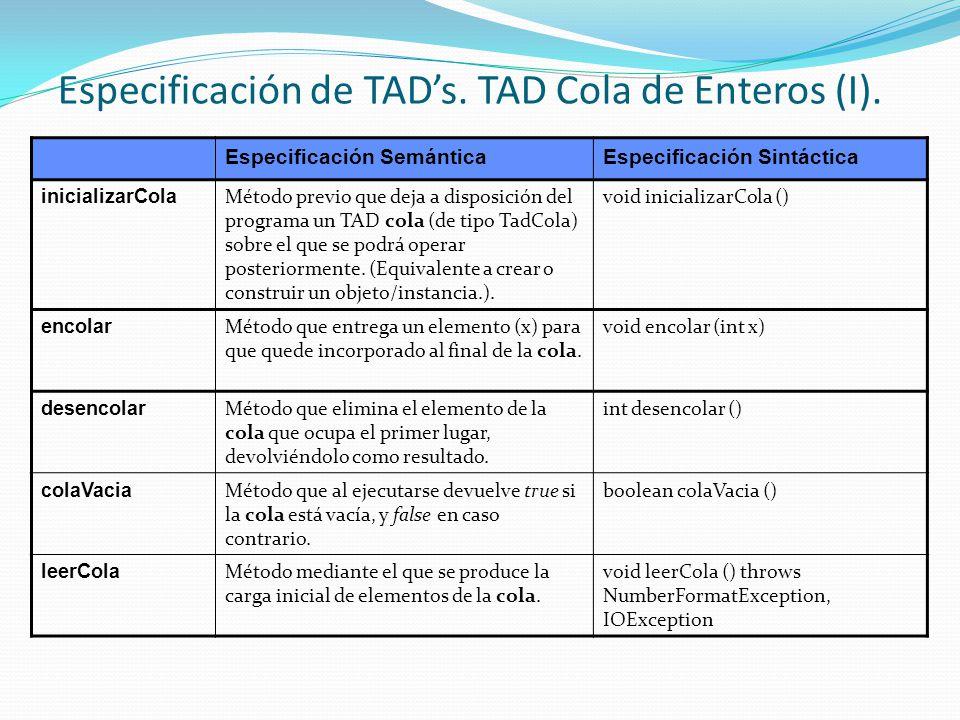 Especificación de TAD's. TAD Cola de Enteros (I).