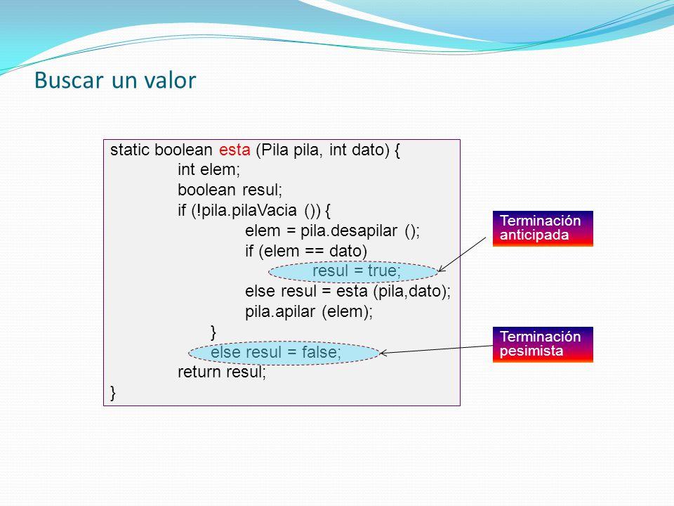 Buscar un valor static boolean esta (Pila pila, int dato) { int elem;