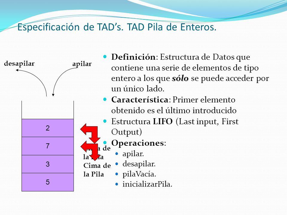 Especificación de TAD's. TAD Pila de Enteros.