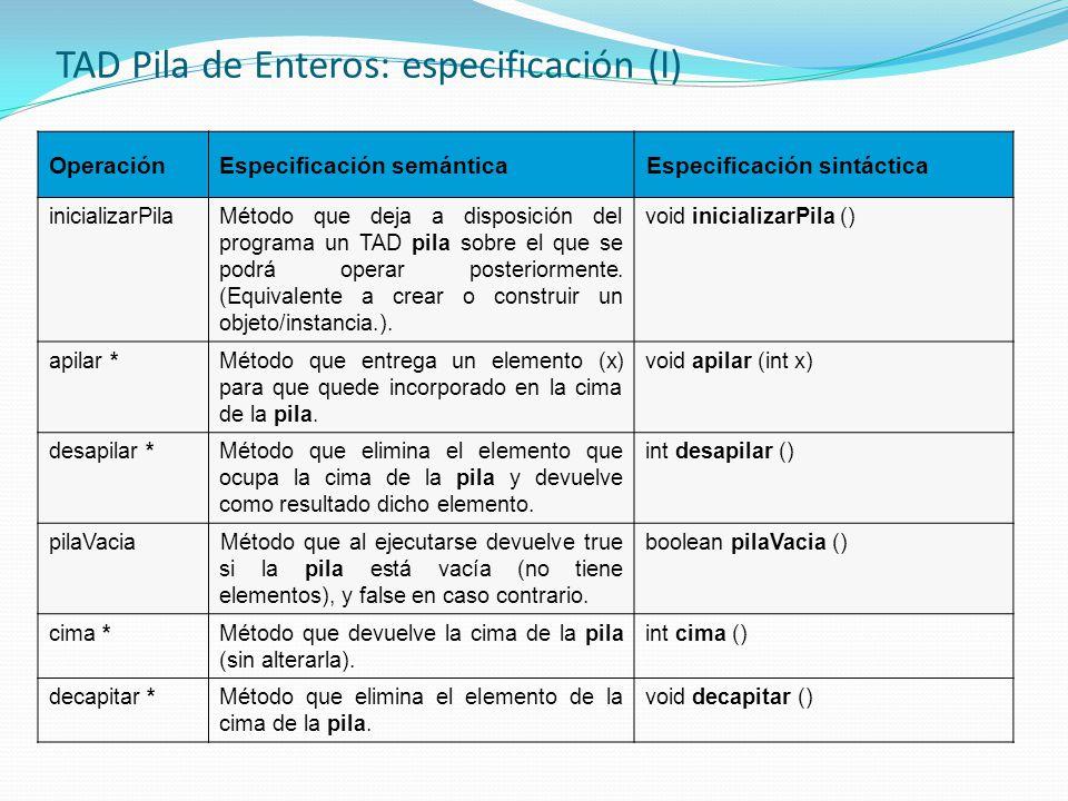 TAD Pila de Enteros: especificación (I)