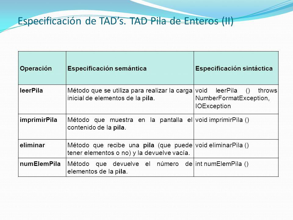 Especificación de TAD's. TAD Pila de Enteros (II)