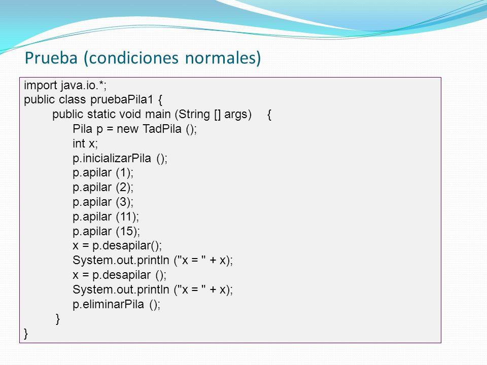 Prueba (condiciones normales)