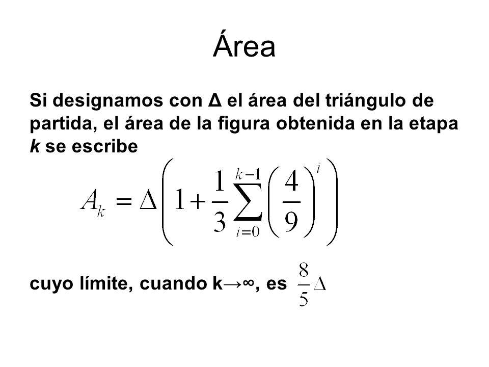 Área Si designamos con Δ el área del triángulo de partida, el área de la figura obtenida en la etapa k se escribe.