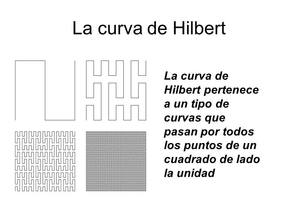 La curva de Hilbert La curva de Hilbert pertenece a un tipo de curvas que pasan por todos los puntos de un cuadrado de lado la unidad.