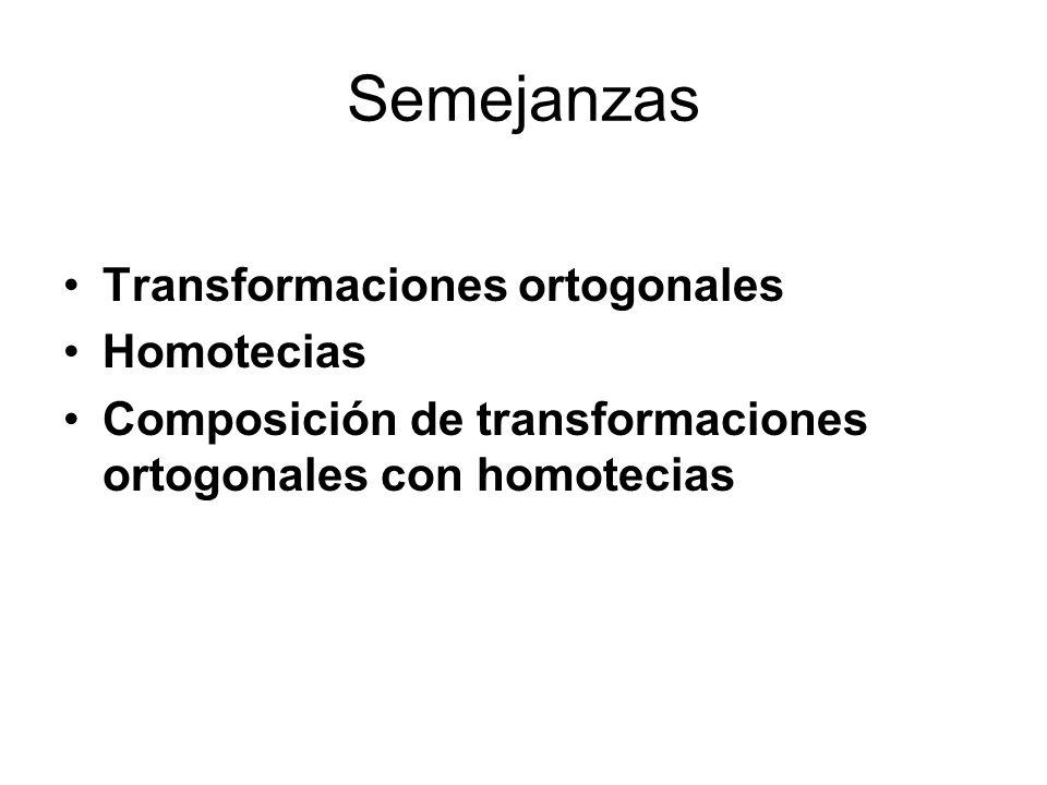 Semejanzas Transformaciones ortogonales Homotecias